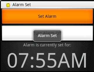 (Fig AL.3) When the alarm is set, an icon appears in the top left corner letting you know the alarm is set, and the alarm time appears in prominent fashion.