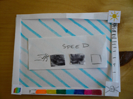 Speed icon.  The amount the boxes are filled in indicates how quickly the screen is blinking.