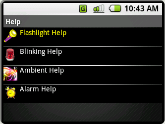 (Figure HE.1) Help starts with this submenu. You can select any of the modes to view the help description.